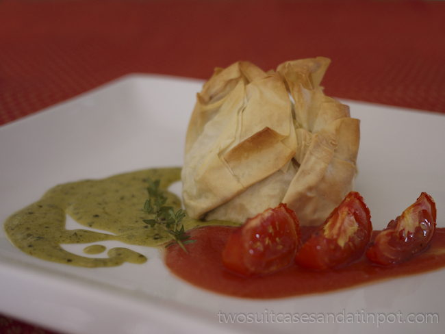 Three cheese chicken phyllo parcels
