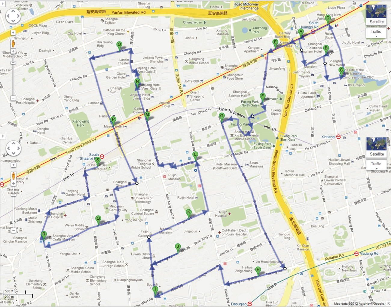 French Concession Walking Tour Map