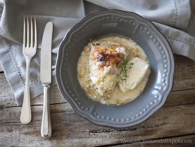 Cream cheese stuffed chicken with leeks and bacon.